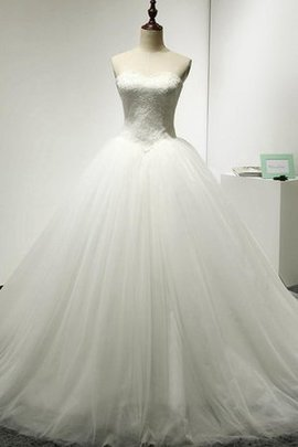 Natural Waist Ball Gown Strapless Floor Length Lace Wedding Dress