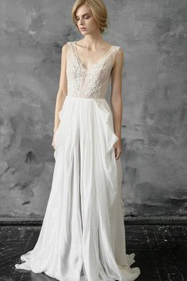 V-Neck Chiffon Lace Fabric A-Line Cascading Ruffle Wedding Dress