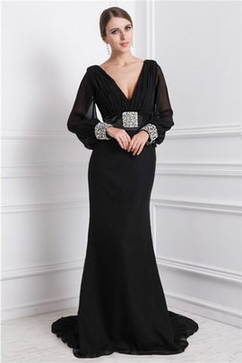 Long Sweep Train Zipper Up Long Sleeves Beading Evening Dress