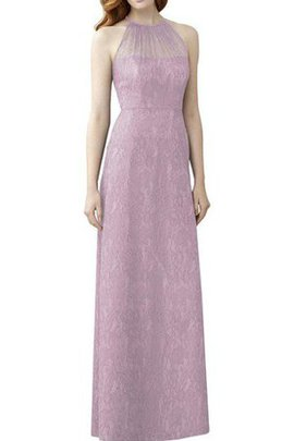 Floor Length Lace High Neck Sheath Bridesmaid Dress