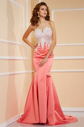 Jewel Sleeveless Natural Waist Sweep Train Sheath Evening Dress