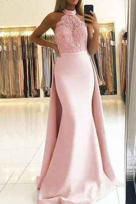 Natural Waist Halter Attractive Satin Sleeveless Mermaid Sweep Train Evening Dress