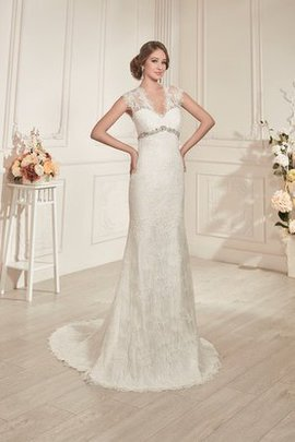 Lace Beading Short Sleeves Floor Length Natural Waist Wedding Dress