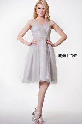 Pleated Tulle Capped Sleeves A-Line Knee Length Bridesmaid Dress
