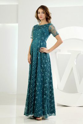 Tulle Ankle Length Vintage Short Sleeves Appliques Evening Dress