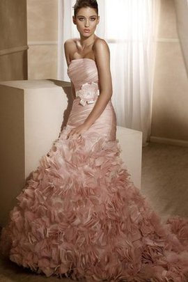 Floor Length Satin Ruffles Flowers Lace-up Wedding Dress