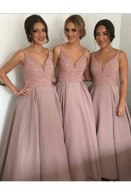 A-Line Natural Waist Taffeta Beading Bridesmaid Dress