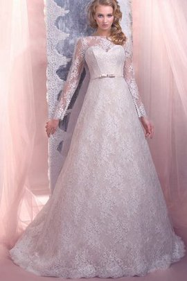 Bateau Natural Waist Court Train Long Sleeves Lace Fabric Wedding Dress
