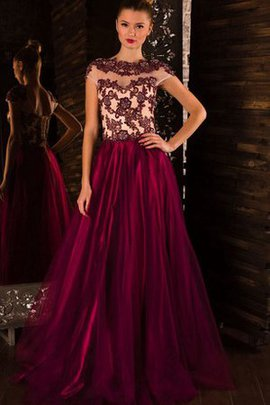 A-Line High Neck Natural Waist Beading Sweep Train Prom Dress