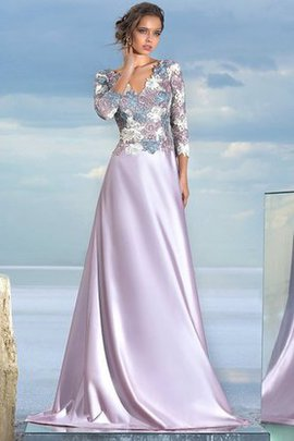 A-Line Appliques Natural Waist Floor Length V-Neck Prom Dress