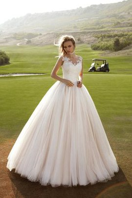 V-Neck Tulle Appliques Sleeveless Lace Wedding Dress