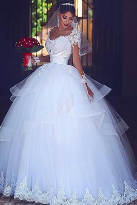 Lace Fabric Long Sleeves Lace-up Excellent Ball Gown Formal Natural Waist Wedding Dress
