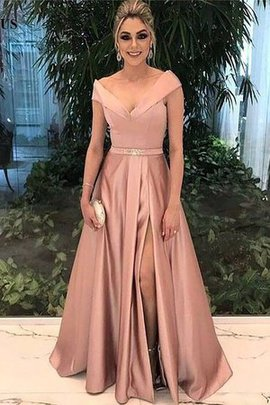 Natural Waist Satin Graceful Floor Length A-Line Princess Sashes Prom Dress