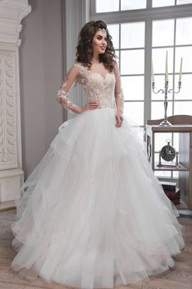Scoop Keyhole Back Long Sleeves Ball Gown Natural Waist Wedding Dress
