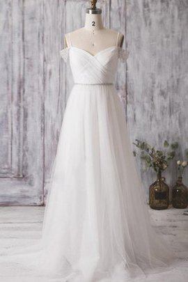 Pleated Zipper Up Natural Waist Spaghetti Straps Floor Length Wedding Dress