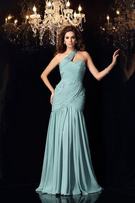 Mermaid Sleeveless Long Chiffon One Shoulder Evening Dress