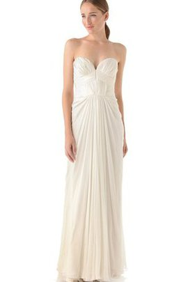 Zipper Up Draped Ruched Floor Length Wedding Dress