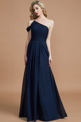 A-Line Natural Waist One Shoulder Floor Length Chiffon Bridesmaid Dress