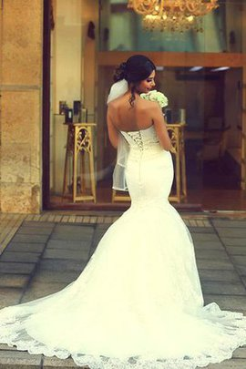 Lace-up Spaghetti Straps Mermaid Sweetheart Lace Fabric Wedding Dress
