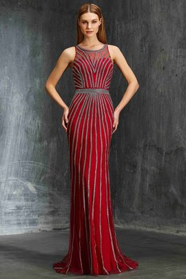 Sleeveless Scoop Natural Waist Backless Beading Evening Dress