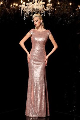 Sequined Sleeveless Natural Waist Sequins Scoop Evening Dress