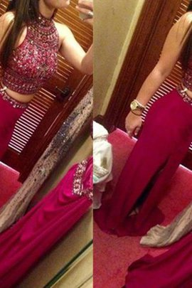Sleeveless Zipper Up Jewel 2 Piece Floor Length Evening Dress