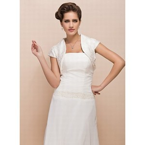 Elegant Taffeta Simple White Bolero - 1