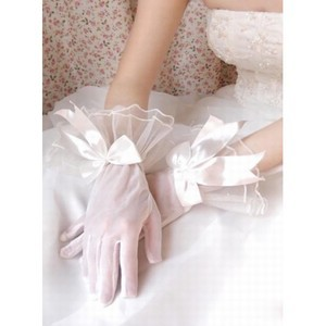 Organza With Bowknot Ivory Elegant | Modest Bridal Gloves - 1