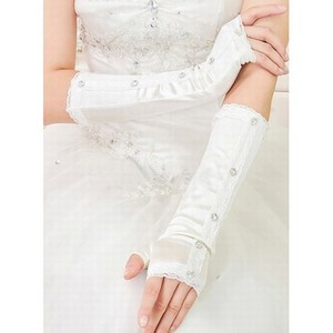 Satin With Crystal Chic Bridal Gloves - 1
