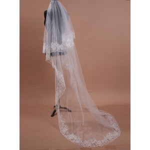 Lace Hem Elegant | Modest Brush Train Wedding Veil - 1