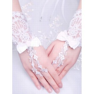 Lace With Bowknot White Chic | Modern Bridal Gloves - 1