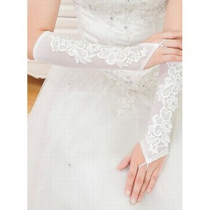 Satin Modest With Application Bridal Gloves - 2