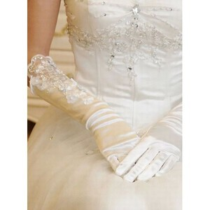 Satin With Application White Modern Bridal Gloves - 1