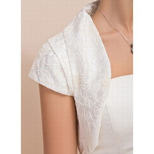 Elegant Taffeta Simple White Bolero - 3