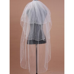 Beading Vintage Short Wedding Veil - 1