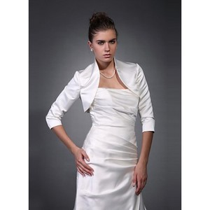 Modest White Taffeta Bolero Simple - 1