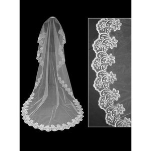 Lace Hem Elegant | Modest Chapel Train Bridal Veils - 1
