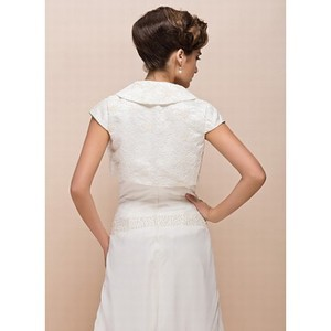 Elegant Taffeta Simple White Bolero - 2