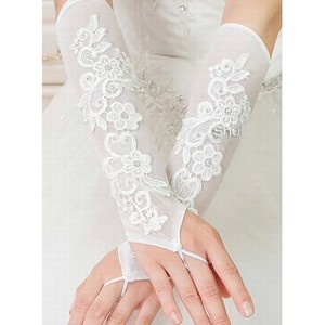 Satin Modest With Application Bridal Gloves - 1