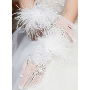 Organza With Crystal White Luxurious Bridal Gloves - 1