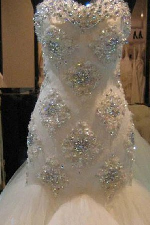 Beading Court Train Natural Waist Tulle Sweetheart Wedding Dress - 3