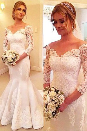 Off The Shoulder Satin 3/4 Length Sleeves Court Train Mermaid Wedding Dress - 1