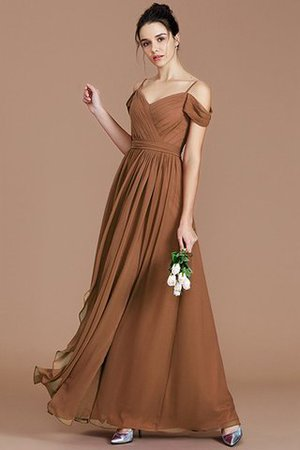 Chiffon Floor Length A-Line Ruched Bridesmaid Dress - 9