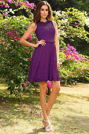 Knee Length Natural Waist Scoop Lace Elastic Woven Satin Bridesmaid Dress - 13