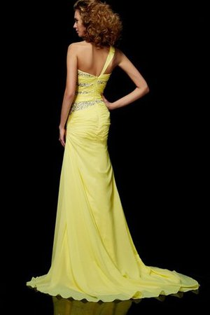Natural Waist Sweep Train Sheath Zipper Up One Shoulder Evening Dress - 2