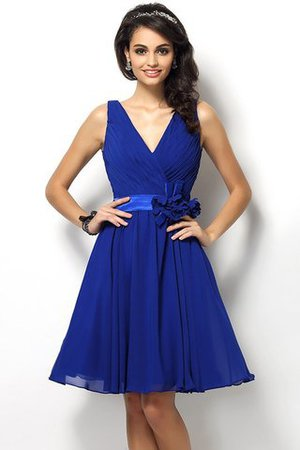 Draped A-Line V-Neck Natural Waist Bridesmaid Dress - 25