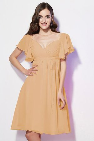 Ruffles Knee Length Short Sleeves Sweetheart Bridesmaid Dress - 13