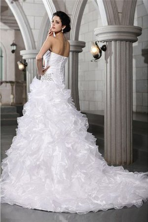 Lace-up Sleeveless Long Pleated Chapel Train Wedding Dress - 2
