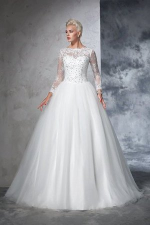 Sweep Train Long Zipper Up Ball Gown Long Sleeves Wedding Dress - 1