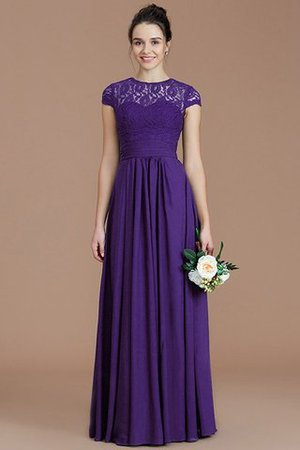 Chiffon Floor Length A-Line Jewel Short Sleeves Bridesmaid Dress - 30